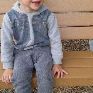 """Levi's toddler """"denim vest look"""" hoodie sweatshirt"""